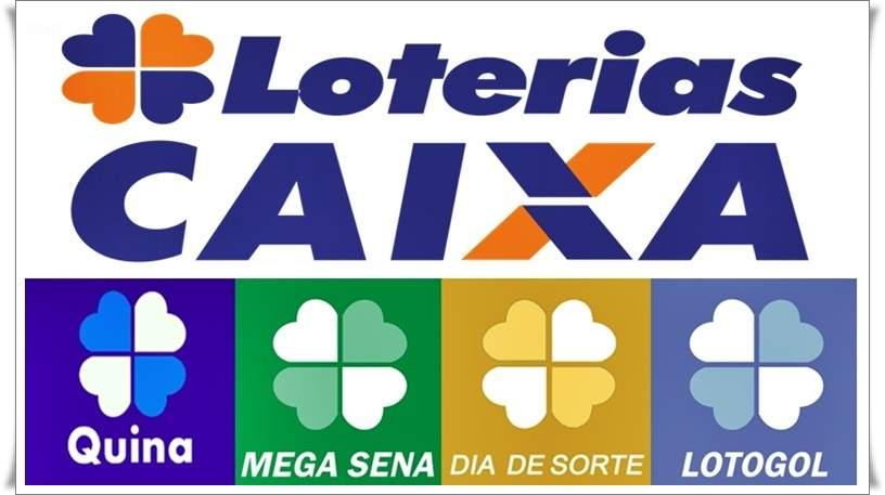 Resultado das loterias Caixa. Imagem/Montagem