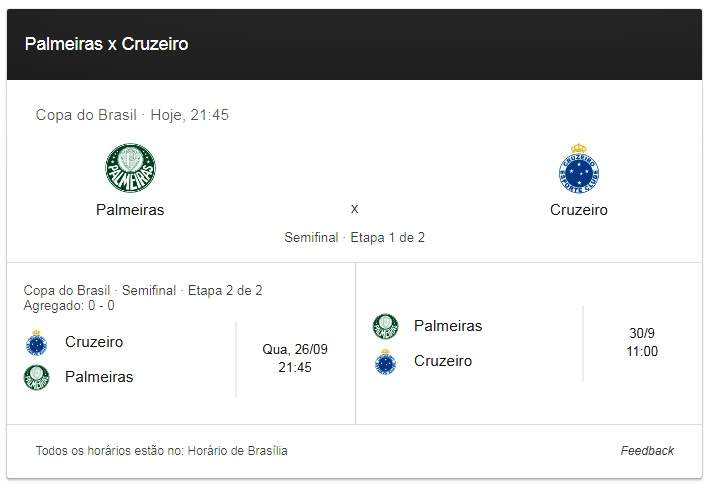 Jogo do Palmeiras x Cruzeiro assistir online. Imagem/Captura