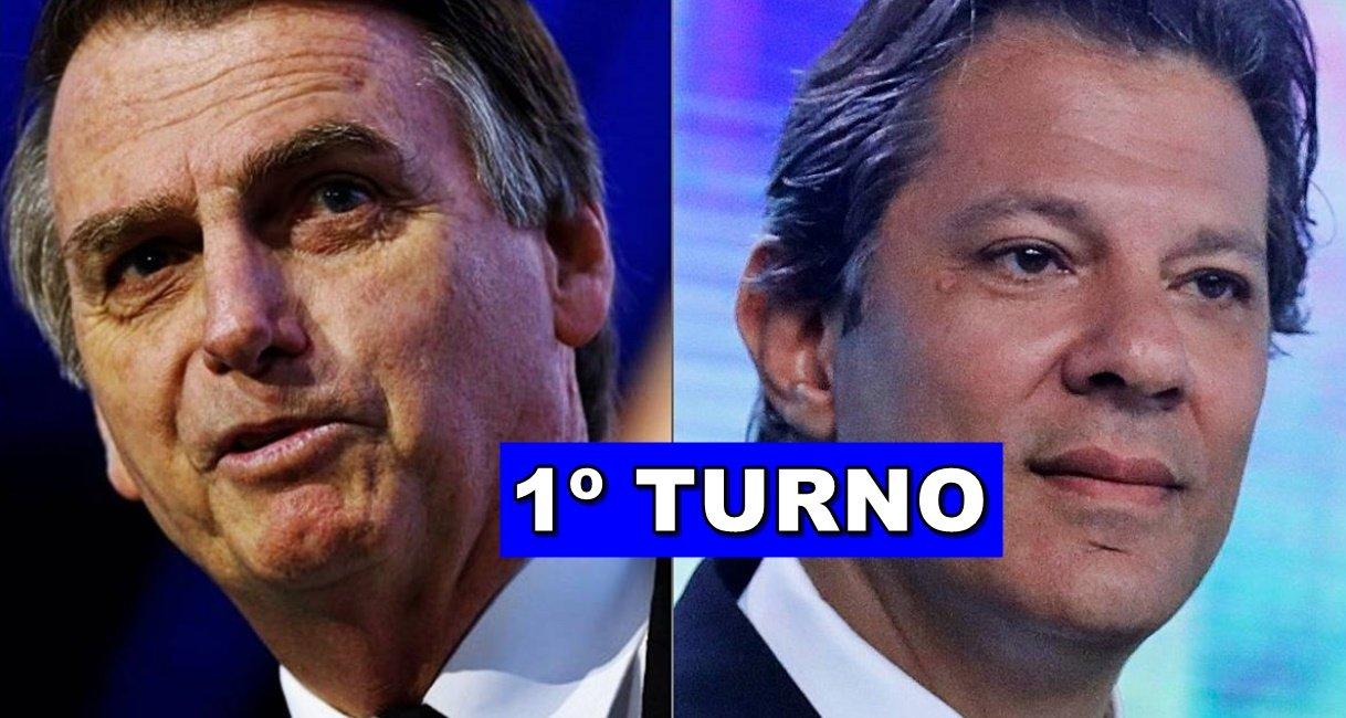 Número de votos final das eleições 2018 - Primeiro turno - Fernando Haddad x Jair Bolsonaro - Foto/Montagem