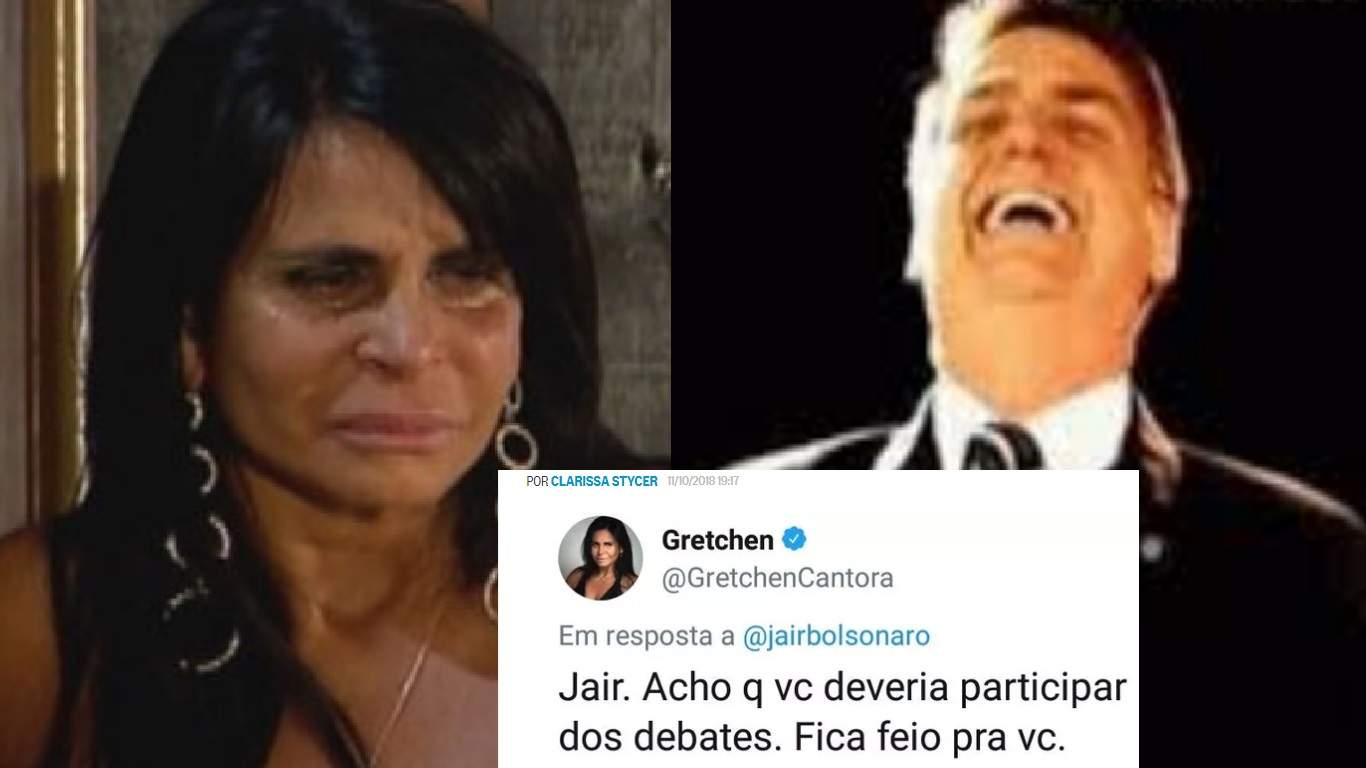 Gretchen sofre a fúria dos eleitores de Bolsonaro, após critica à falta em debates - Foto/Montagem
