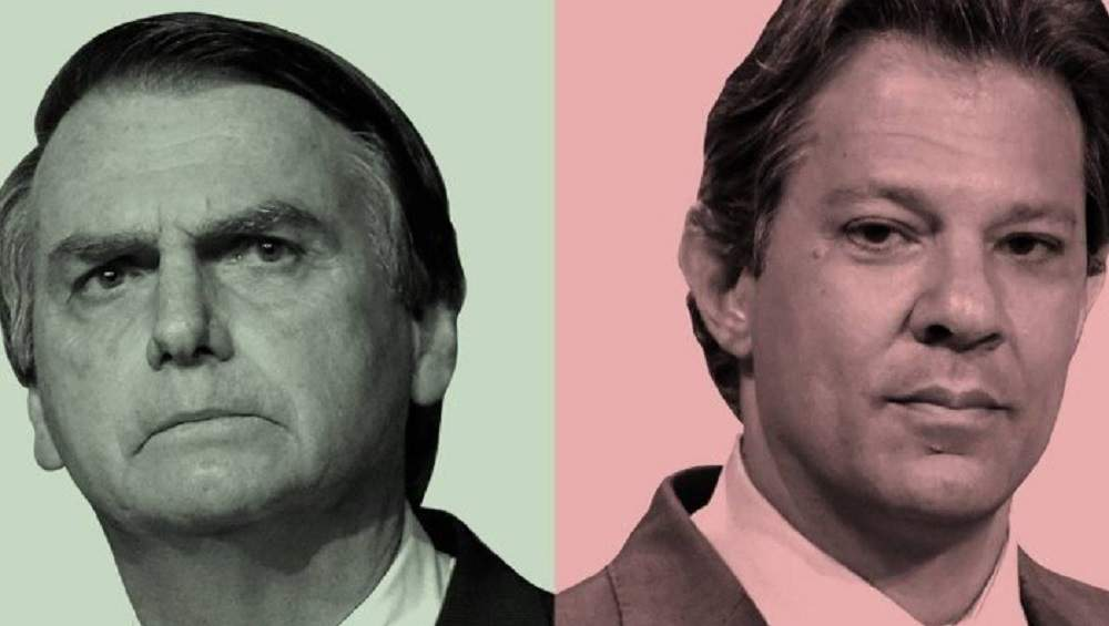 Saiba números da pesquisa Datafolha divulgada nesta quinta-feira, 25 de outubro, mostrando distância entre Jair Bolsonaro, do PSL, e Fernando Haddad, do PT – Foto/Montagem