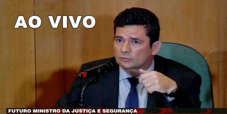 Entrevista de Sergio Moro ao vivo para Band News. Imagem/Captura,