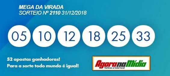 Resultado oficial da Mega-Sena da Virada 2018. Foto/Captura/Caixa
