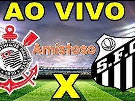 Assistir Corinthians e Santos ao vivo amistoso. Imagem/Montagem