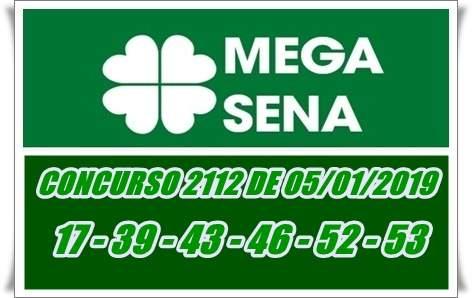 Resultado da Mega-Sena CONCURSO 2112 DE 05 DE JANEIRO. FOTO/MONTAGEM