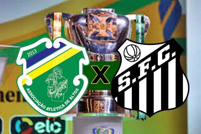 Futebol online: Santos x Altos PI Copa do Brasil. Foto/Montagem