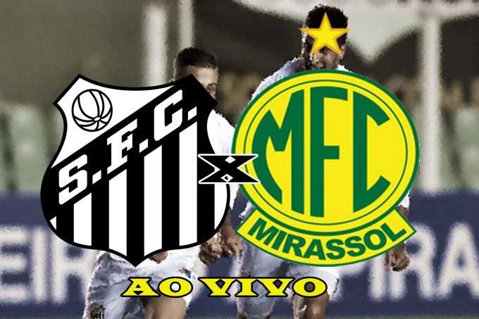 Veja onde vai passaar o jogo do Santos x Mirassol ao vivo grátis na TV e na internet. Foto/Montagem