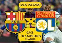 Jogo Barcelona x Lyon ao vivo. Foto/Montagem