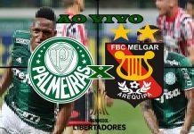 Jogo Palmeiras x Melgar ao vivo. foto/Montagem