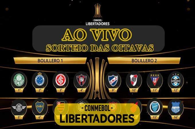 AO VIVO: Sorteio da Libertadores ao vivo onine. Oitavas de final 2019 Conmebol. Foto/Montagem